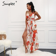 Simplee Sexy v neck backless rompers women Halter split floral print jumpsuits rompers Casual loose jumpsuit