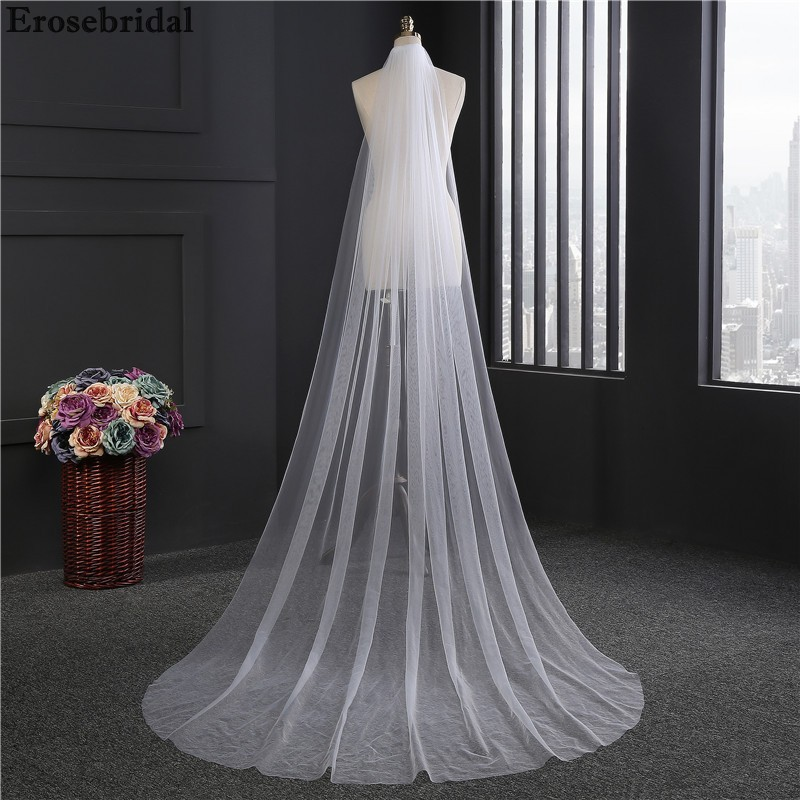 2019 New Bridal Veil 3M*1.5M Size White Ivory Wedding Veil With Comb In Stock 72 Hours Shipping
