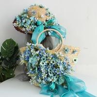 Original handmade flower bag lady bags summer beach hat handbag rattan straw bag beautiful green sky blue silk ribbon