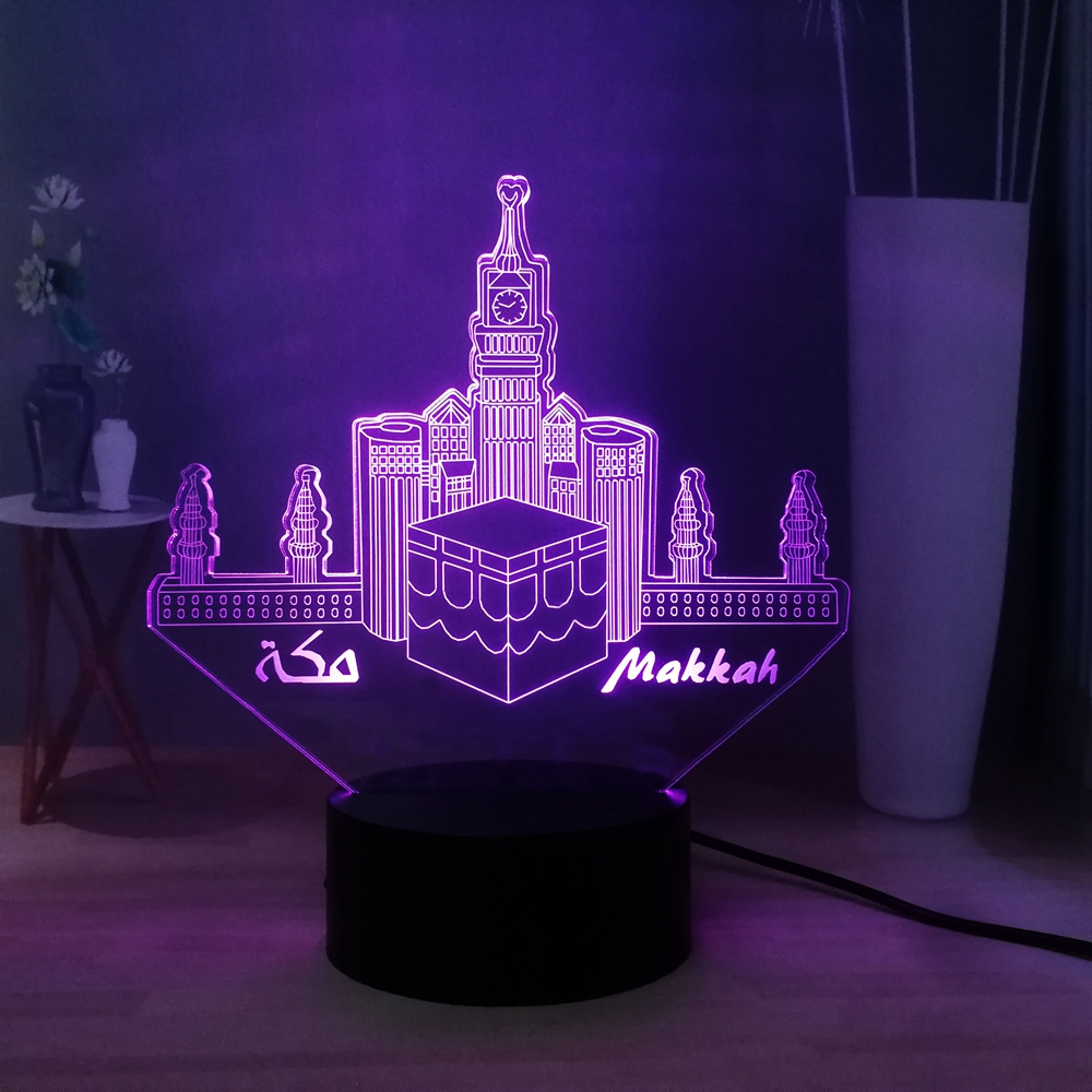 Creative LED NIGHT LIGHT Makkah RGB USB Switch Multicolored 3D Illusion Lamp Kids Bedside Sleep Lamp Table Lamp Birthday Gift