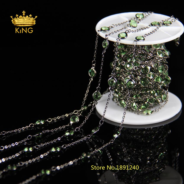 6mm Green Glass Faceted Round beads Coin Chains,Flat Connectors Beads Link Gun Black Plated Wire Wrapped Chain LS053