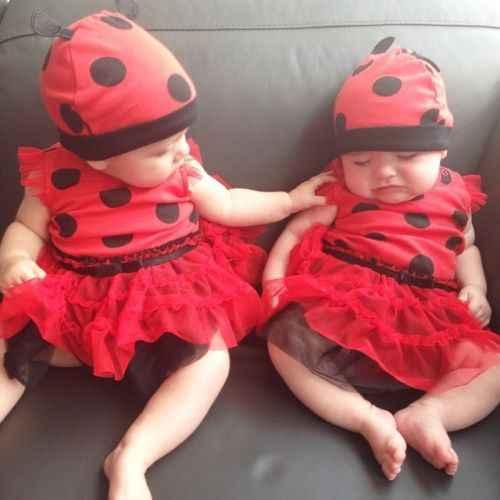 Новое Сетчатое платье для маленьких девочек и шляпа, комплект одежды, костюм божьей коровки, комбинезон-пачка для новорожденных девочек + шляпа, нарядное платье на Хэллоуин