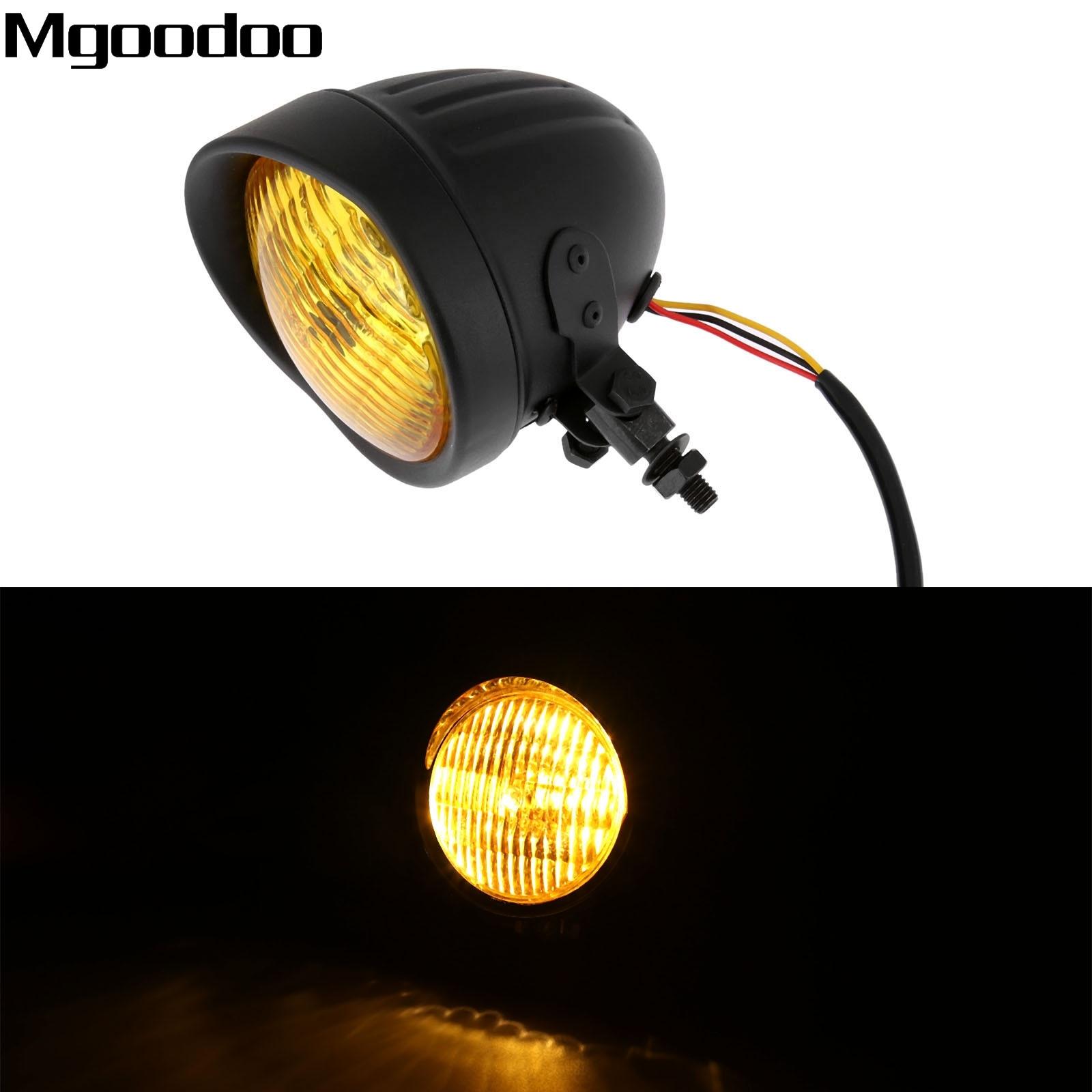 Black Motorcycle Headlight Head Light Lamp Hi/Lo Beam For Harley Bobber Choppers Touring Custom Moto Bikes 12V 35W Yellow Lense