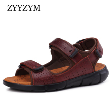 ZYYZYM Sandals Men Genuine Leather Comfortable Summer Beach Shoes Big Size Superior qualitySandalias Slipper