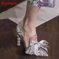 Острый носок Бабочка Узел Декор Для женщин Насосы высокий каблук Sapato Feminino шикарный бренд взлетно посадочной полосы Звезда Обувь галстук ба