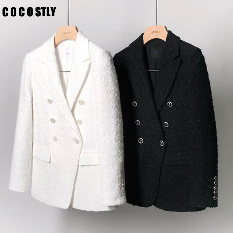 Vintage Tweed Blazer Women 2019 Spring Blend Jacket Coat Mujer Fashion Office Ladies Female White And  Black Blazer Coat Autumn