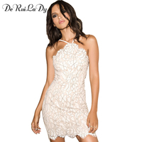 DeRuiLaDy Women Sexy Off Shoulder Dress Sleeveless V Neck Sling Party Casual Dress White Floral Lace