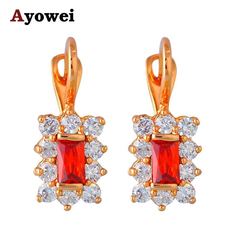 aa4f7829176a4 Luxo Brincos de Argola para Mulheres Presente Do Partido Preço Mais Baixo  tom de Ouro de Cristal Vermelho Granada Moda Jóias JE1045A
