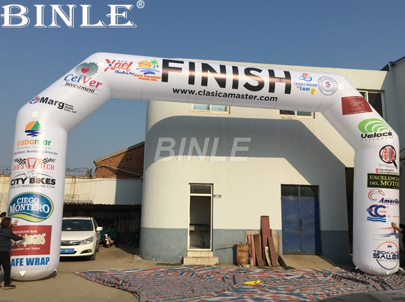 Customized double printed white 3D inflatable start finish line arch sport arch gate for outdoor promotion