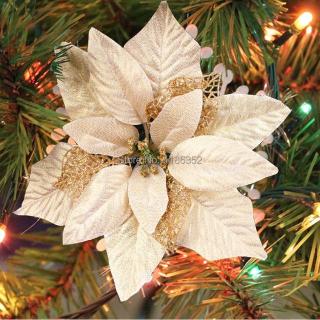 Glitter arreglo de flores navidad árbol de navidad decorado 20 cm 5 ...