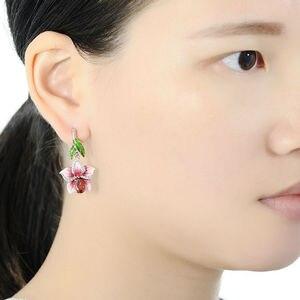 Image 5 - SANTUZZA Silver Earrings For Women 925 Sterling Silver Dangle Earrings Long Silver 925 Cubic Zirconia brincos Jewelry Enamel