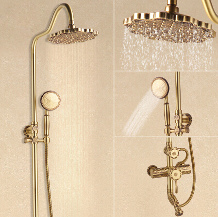 Luxury Antique Brass Carving Rainfall Shower Sets Faucet Mixer Tap With Tub Faucet Brass Bath