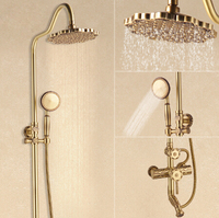 Luxury Antique Brass Carving Rainfall Shower Sets Faucet Mixer Tap With Tub Faucet Brass Bath & Shower Faucet Set Bathtub Faucet