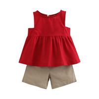 Kid Girl S Summer Solid Color Clothing Sets Child Baby Girl Red Sleeveless Vest Coffee Casual
