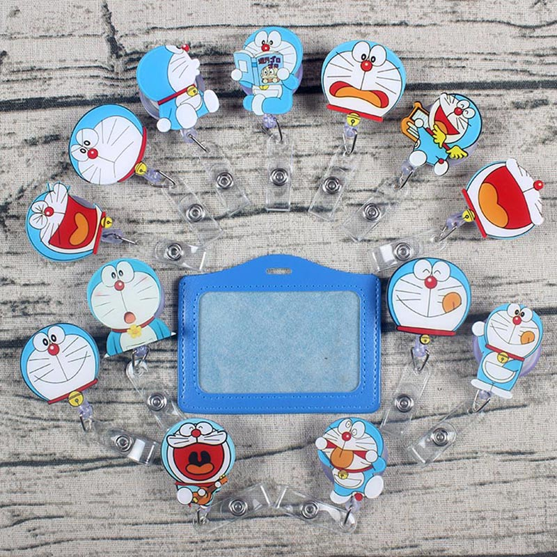 Lots Of Style Blue Cat Retractable Creative The Badge Reel Student Nurse Exhibition Enfermera Name Card Chest PVC PU Card Holder