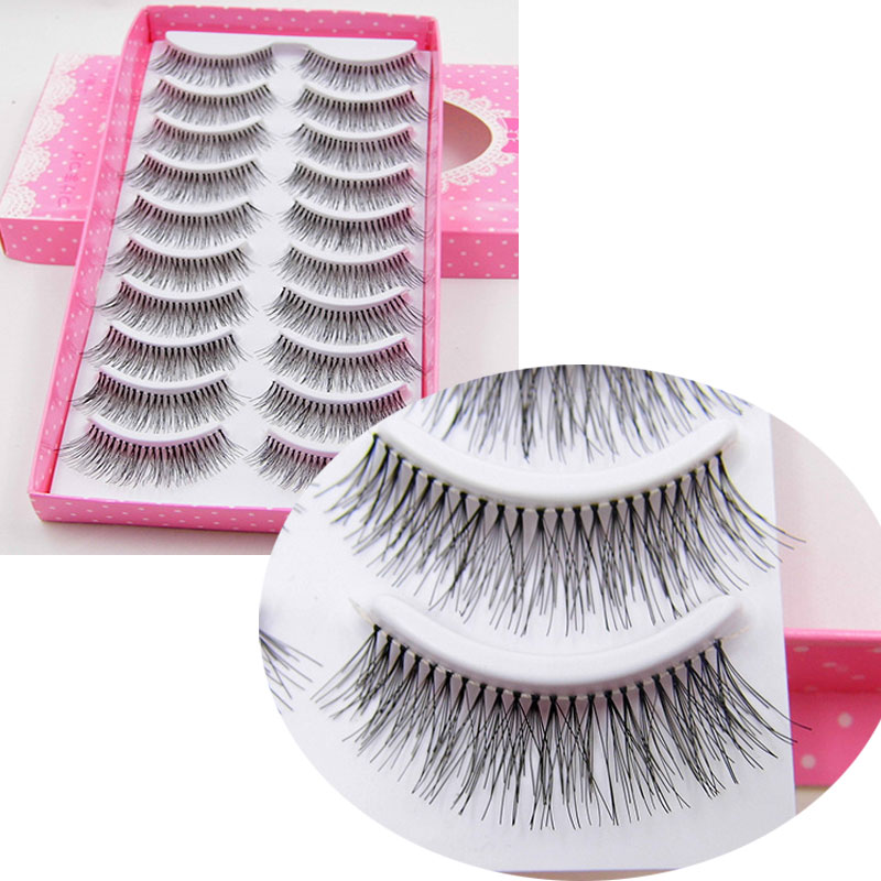 10 Pairs False Eyelashes Fashion Makeup Stage Fake Eyelashes Natural Long Crisscross Messy Soft Transparent Terrier Lashes