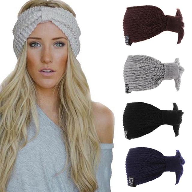 04d09b5d1d2287 Neue 2016 Winter Damen Ohr-wärmer Crochet Turban Stricken Wolle Haarband  Hauptverpackung Stirnband Headwear Female