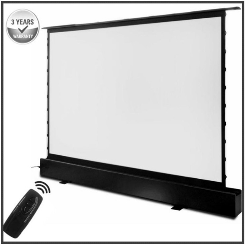 T6HALR 16:9 HDTV Format Motorized Ambient Light Rejecting ALR Electric Floor Ascending Projector Screen With Remote Control