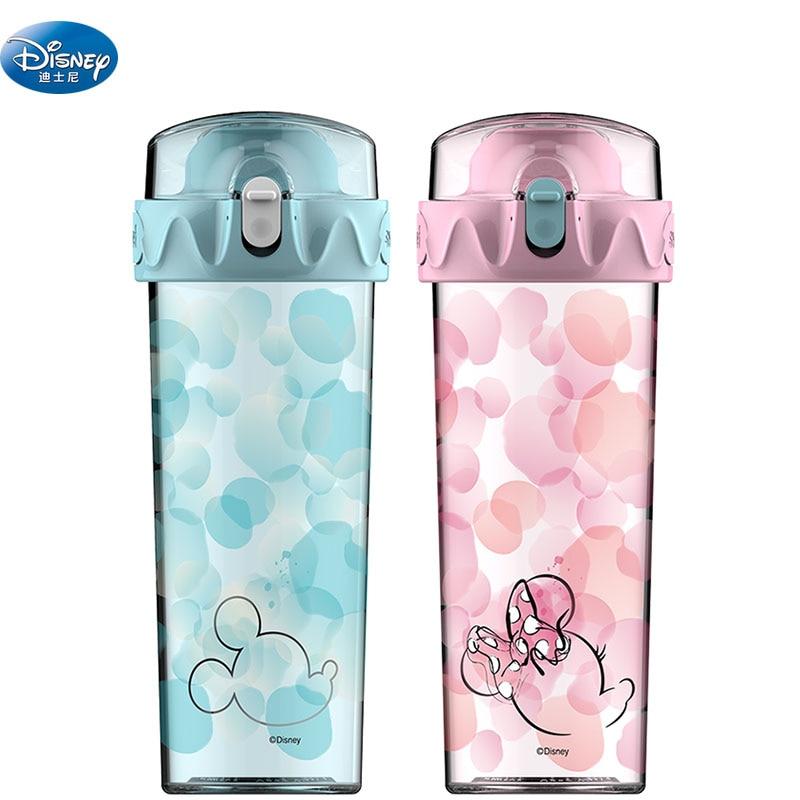 Disney Mickey Mouse dessin animé tasses créatif Minnie encre créative boisson droite bouteilles transparentes enfants cadeau