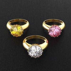 Image 4 - OneRain 100% 925 ayar gümüş düzenlendi mozanit taş düğün nişan sarı altın yüzük yıldönümü takı toptan