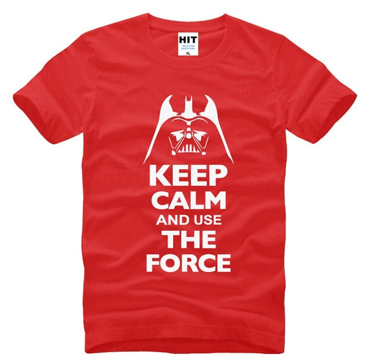 red starwars tshirt with white words keep calm and use the force tshirt