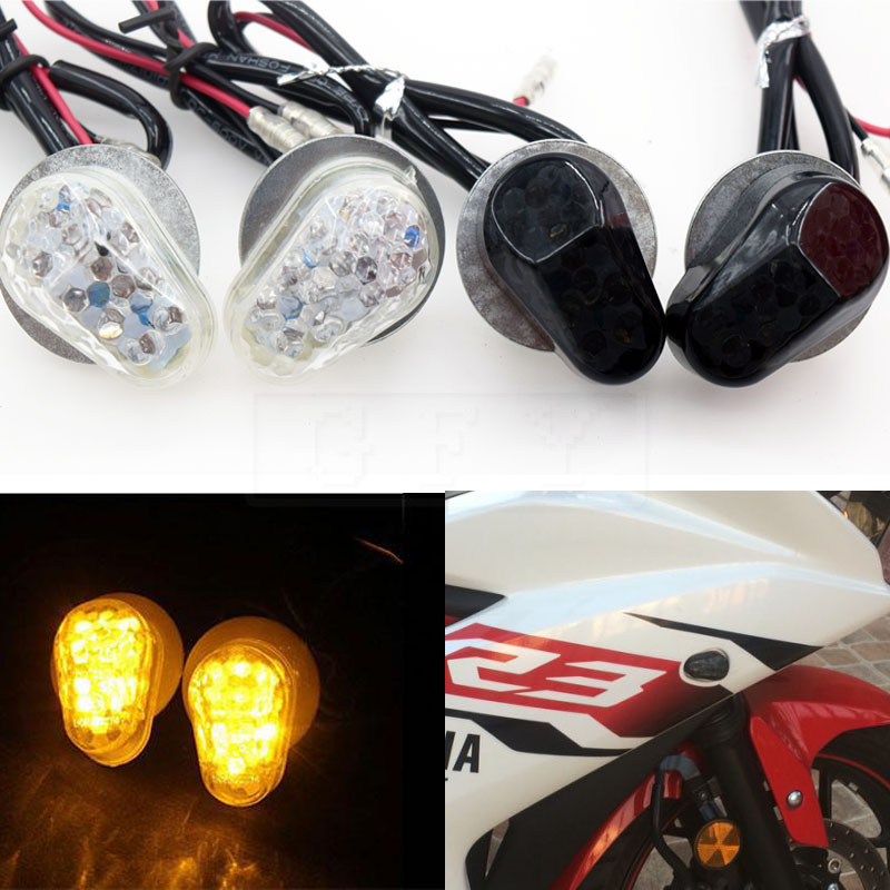 Motorcycle <font><b>LED</b></font> Bulb Turn Signals Indicator flashing <font><b>lights</b></font> blinkers For <font><b>Yamaha</b></font> YZF <font><b>R1</b></font> R6 R6S R3 R6S FZ1 FZ6 FZ8 FAZER XJ6 MT03 image
