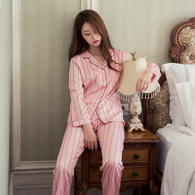 Thick Cotton Women Pajamas Sets Autumn Women Two Piece Pajama Set Striped Female Sleepwear Home Clothing Women's Pajamas Suit