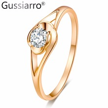 Gussiarro 2017 Female Flower Ring Gold-Color Jewelry CZ Classic Wedding Rings For Women Birth Clear Stone Girlfriend Gifts