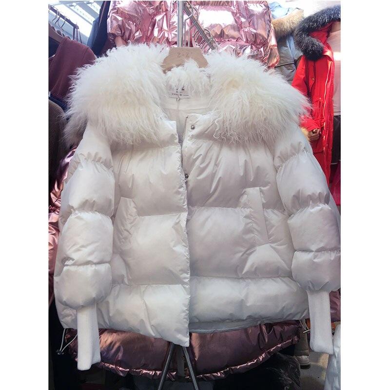 2019 white Éclair pink Mode 733 Hiver Nouvelle silver Femmes Brillant Black Bas Rembourré Manteau Vers Fourrure Col Mat Fermeture Le Veste Chaud Marée Agneau Coton De rOrxnp4qgw