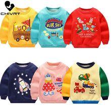 Chivry/Детские толстовки с капюшоном для мальчиков и девочек; детский хлопковый пуловер с рисунком; топы для маленьких мальчиков; Повседневная осенняя одежда; От 0 до 6 лет