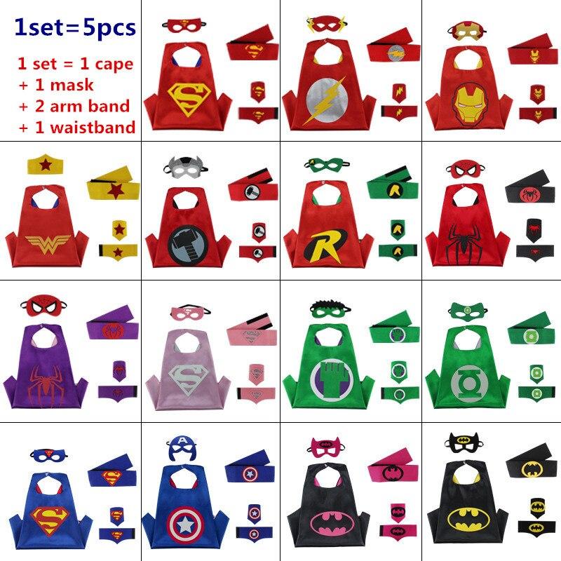 Супергерой накидка + маска + повязка + пояс дети Бэтмен паук СПС Тор Робин накидки манжеты с поясом patrulha Косплей таможенные