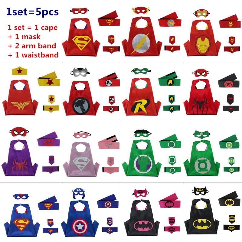 Superhero cloak cape+mask+armband+waistband kids batman spiderman pjc Thor robin capes cuff with belt patrulha cosplay Custome