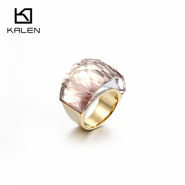 Kalen Women Popular Stainless Steel Gold Color & Champagne Glass Cut Stone 6MM Width Finger Rings Fit Formal Party Accessories