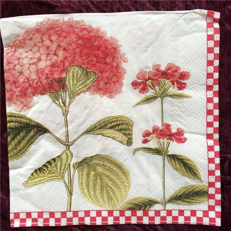 Decoupage Pink hydrangea pattern for Party 4x Paper Napkins