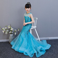 Royal Mermaid Flower Girl Dresses Sleeveless Sequins Kids Wedding Party Birthday Dresses Princess Children Formal Costume AA261