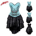 New arrive sexy bule Punk dress with flower design s-2xl W3493
