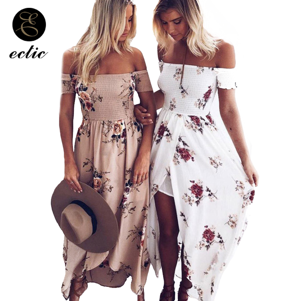 Tunics For Beach Sukienka Long Dress Floral Boho Robe Femme Ete 2018 Summer  Dresses For Women Chiffon Off Shoulder Split Ender c0db81c49d83