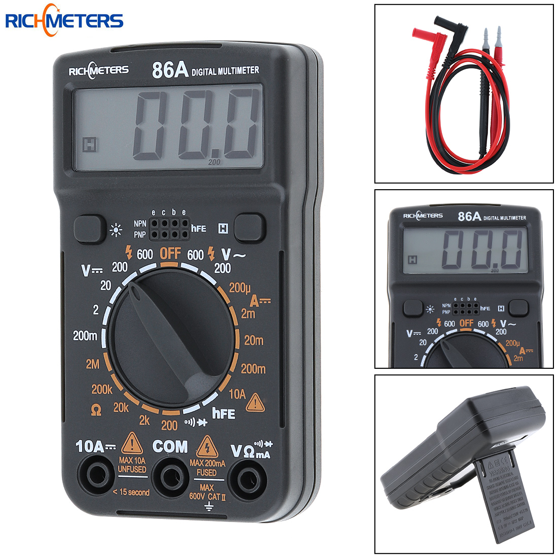 New RM86 1999 Counts Portable LCD Display Handheld Digital Multimeter with Blue Backlight Support Data Hold for Household Use