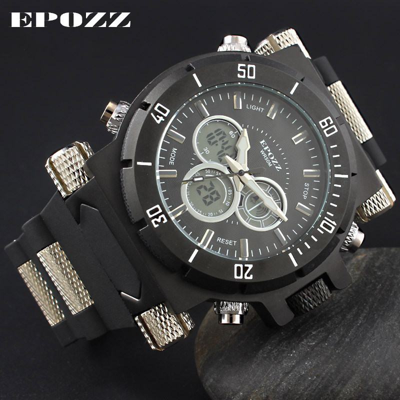 EPOZZ Brand new quartz watch for men fashion sports military waterproof watches leisure rubber digital male clock 2813