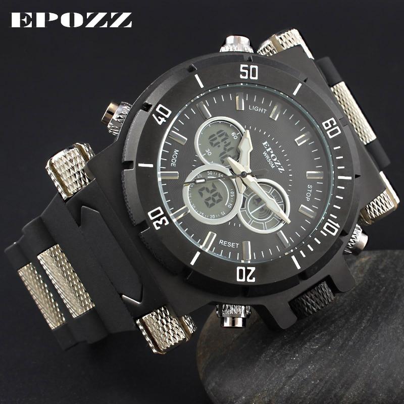 Digitale Uhren Uhren Epozz Männer Sport Militär Uhren Led Digital Mann Marke Uhr 5atm Dive Swim Kleid Fashion Outdoor Jungen Elektronische Armbanduhren