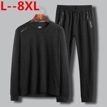 Plus 8XL 6XL 5xl Men T Solid 2 in 1 Shirts Fashion 2019 New Fashion Fitness Long Sleeve Tshirts HommeTops&Tees Camisetas Hombre