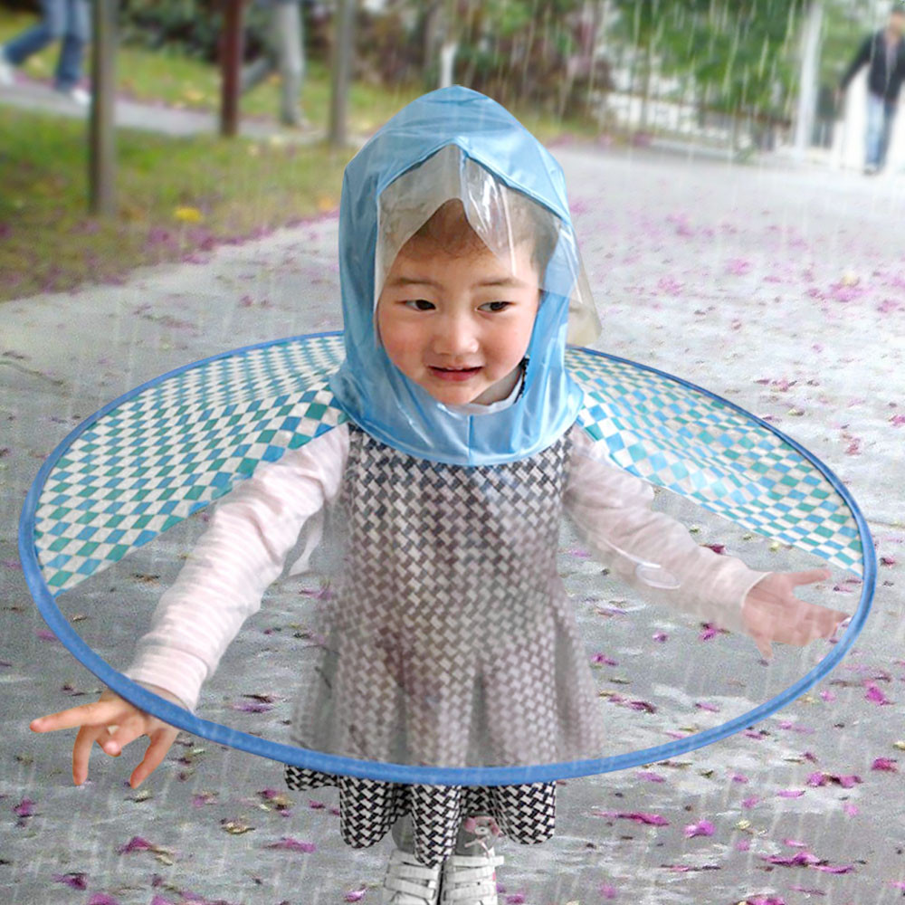 Foldable Cute Rain Coat Ufo Children Umbrella Hat Magical