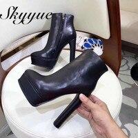 SKYYUE из натуральной кожи хаки пикантная обувь на платформе женские ботильоны круглый носок на очень высоком каблуке 14 см женские зимние боти