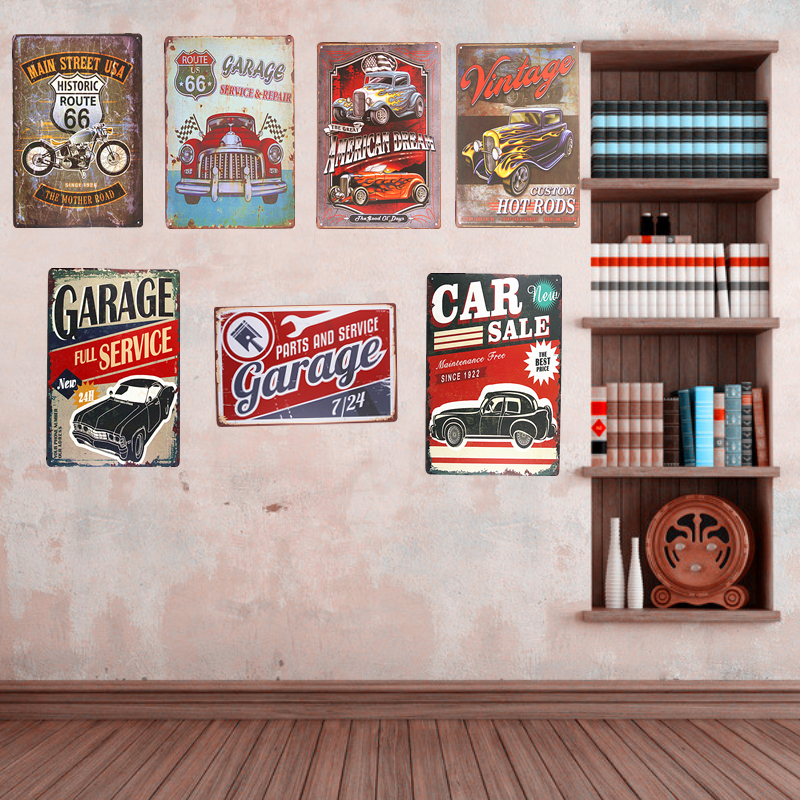 Vintage Metal Tin Signs Car Route 66 Art Posters Hot Rod