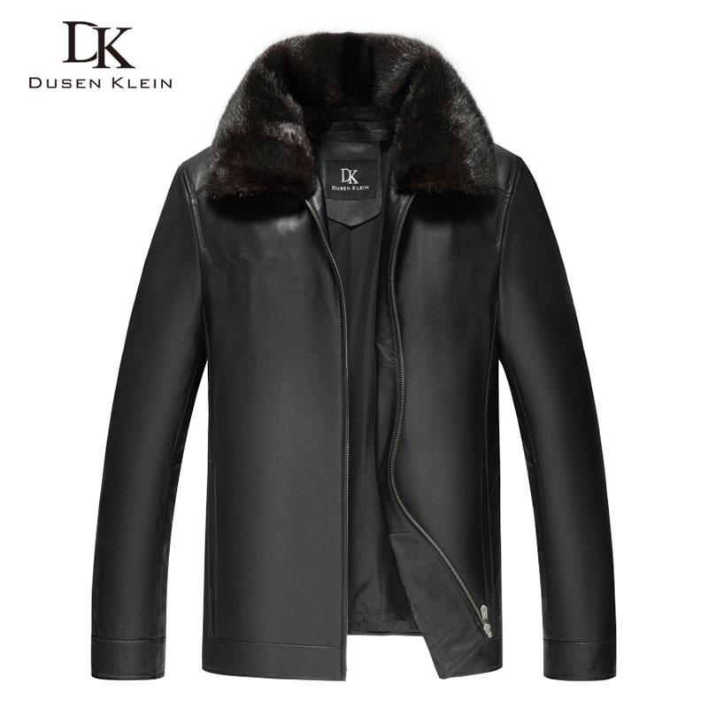 Men Genuine Leather Jackets Winter Warm Coat Mink fur collar+Rabbit hair liner+Sheepskin Short 2018 New Plus size Z17003F