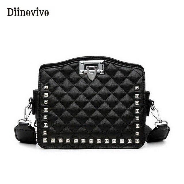 DIINOVIVO New Fashionable Shoulder Bag Rivet Female Handbags Letter Wide  Strap Crossbody Bags for Women 2018 281ca57e2