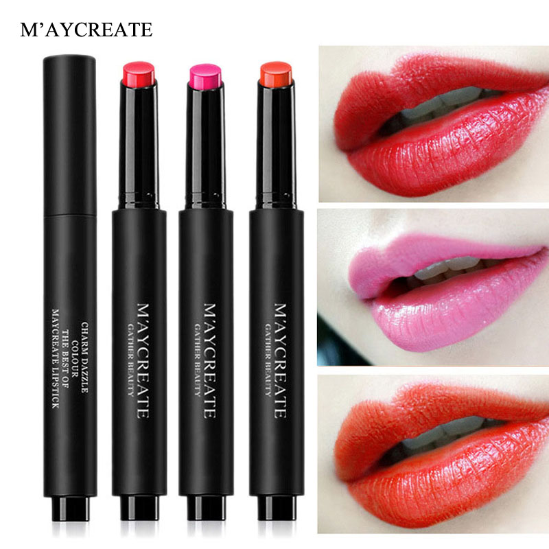 MayCreate Natural Sexy Red Matte Lipstick Velvet Lip Stick Long Lasting  Waterproof Press Lipstick Pencil Makeup Lips Nude Batom 3d4bbbcb83f1
