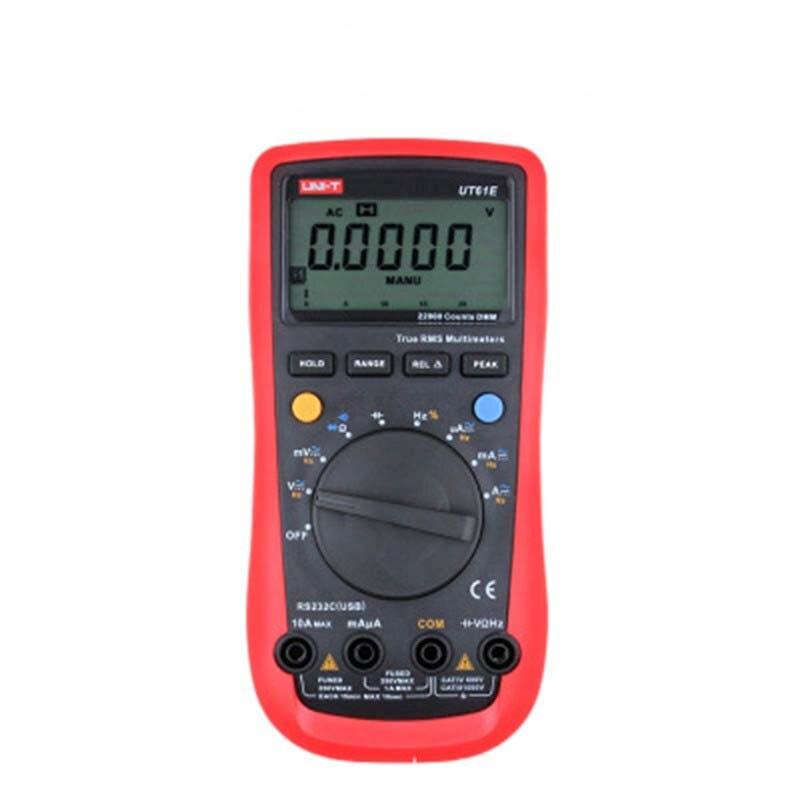 UNI-T true rms multimètre numérique UT61E lcd multimètre gamme automatique AC/DC résistance test RS-232 rétroéclairage lcd multimètre