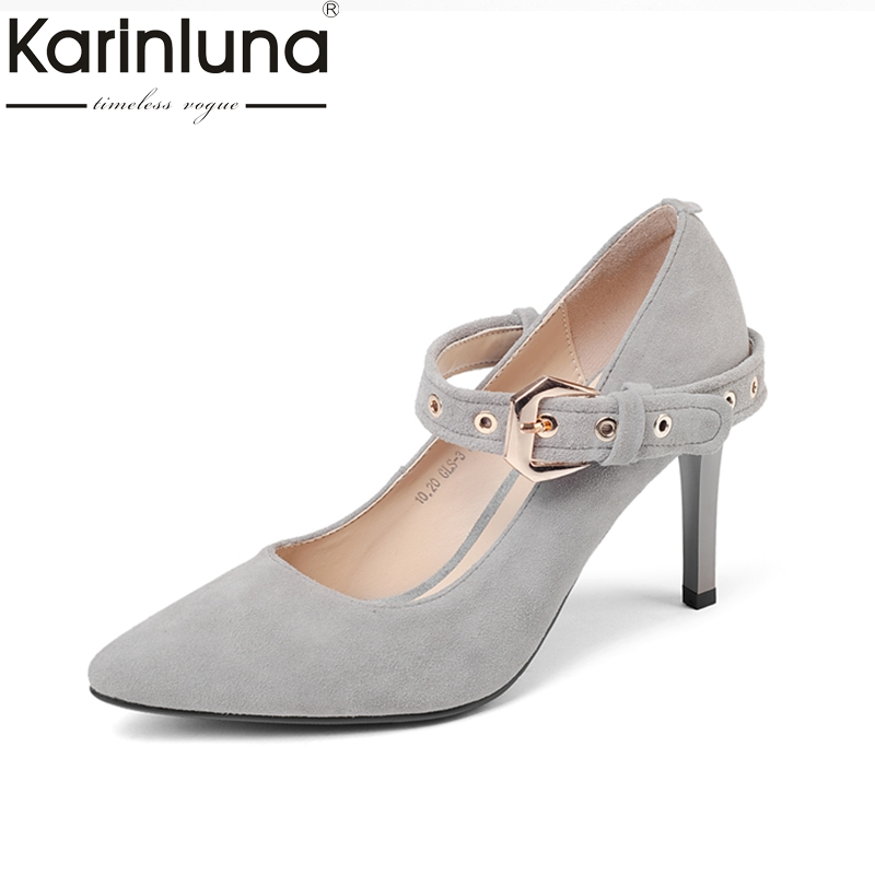 KARINLUNA Large Size 33-40 kid suede leather Pointed Toe Thin High Heels Women Shoes Woman fashion buckle strap Wedding Pumps women pumps flock high heels shoes woman fashion 2017 summer leather casual shoes ladies pointed toe buckle strap high quality