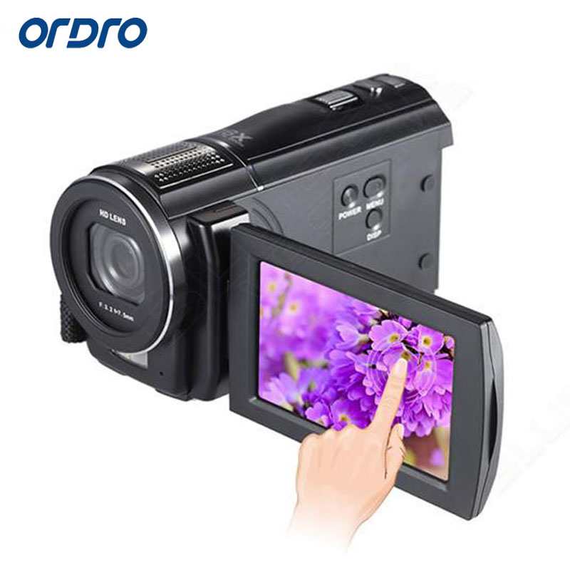 ORDRO HDV-F5 Video Camera Full HD Camcorder 1080P 3.0 Rotatable LCD Touch Screen Camcorders 16X Zoom Digital Camcorder DVR winait electronic image stabilization hdv z8 digital video camera with recording function touch screen